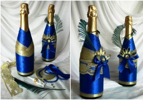 Как украсить шампанское своими руками: атласными лентами, полимерной глиной. как украсить шампанское на свадьбу своими руками