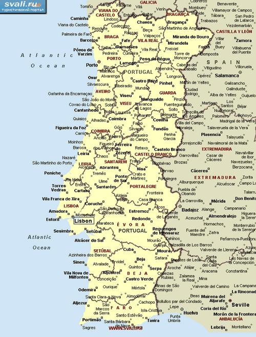 Португалия, карта португалии